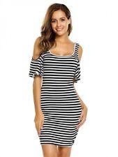 Carli-Beautiful Ladies Size 14 Black White Stripe Off The Shoulder Stretch Dress
