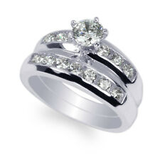 Engagement Channel Ring Set Size 4-10 JamesJenny 10K/14K White Gold 0.55ct Cz