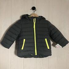 NWT Carter's Boys Winter Puffer Coat Gray Neon Yellow 18 Mos