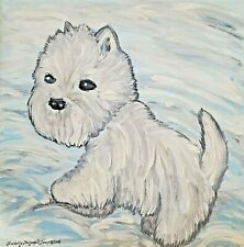 Aceo West Highland White Terrier Dog Art Print Westie Painting Gifts 2.5 x 3.5