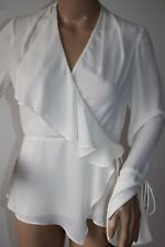 """COAST """"SORREL"""" CREAM SATINE BLOUSE TOP WITH RUFFLE DETAIL SIZE 8  NEW !"""