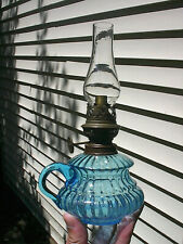 Old Small 1890s Sapphire Blue Ribbed Pattern European Antique Finger Oil Lamp