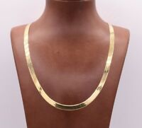 High Polished Herringbone Necklace Chain 10K Solid Yellow Gold 6.00mm ALL SIZES