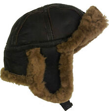 Real Sheepskin Leather Aviator B52 Trapper Hat Brown/Brown Fur Unisex #4H