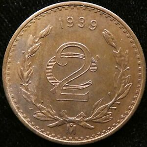 1939 Mexico 2 Centavo AU KM 419