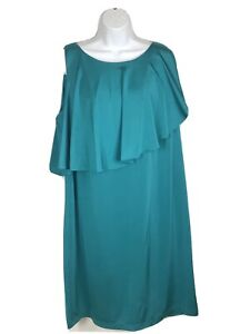 Suzi Chin For Maggie Boutique SZ 16W Dress TEAL Stretch Sleeveless Sheath