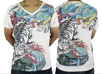 Dragon Tiger Tora Ryu Japanese Temporary Irezumi Tattoo #WK182 Men White T-Shirt