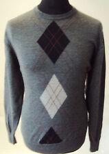 "M&S Italian Extra-fine Merino Wool Grey Argyle Crew Neck Sweater ~ size M 38-40"""