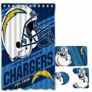 Los Angeles Chargers Bathroom Rugs Set 4PCS Shower Curtain Toilet Lid Cover Gift