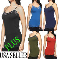 PLUS/REGULAR Basic Solid Women LACE Trim Long Tank Top Camisole Layering BOZZOLO