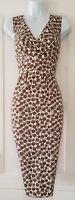 Womens Boden Grey Taupe Stretch Spot Print V Neck Back Wiggle Pencil Dress 10L.