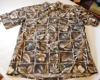 Mens Pierre Cardin XL large Hawaiian Bamboo Leafs SS button up shirt cotton EUC