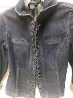 Ruffled Denim Blue Jean Jacket Women's Denim Jacket Blazer Button Up Size Small
