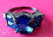 Black Platinum Rhodium Aqua Marine CZ Cocktail Crystal Ring Size 9 USA