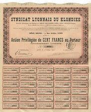 Klondike Syndicate of Lyon – Preference share, 100 Francs, October 1905 – Gold !