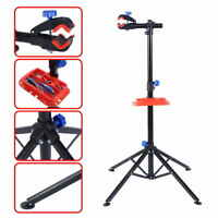 Bike Adjustable Repair Stand Telescopic Arm Cycling Bicycle Rack W/ Tool Tray