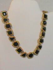Annie Klein Necklace Gold Tone with Black Enamel circle triangle square shaped