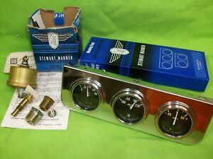 NOS STEWART WARNER Vintage Triple Gauge Set Rat Rod Mopar Ford GM 353-Z