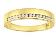 9ct yellow Gold Created diamond wedding band ring size M free postage