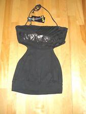 KILLAH Sexy BLACK Top with PRINT Open BACK Waist BAND Tie Around 100% Cotton S