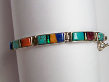 Sterling Silver Calvin Begay Multi Stone Bracelet- Excellent! Free Shipping!