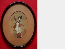 Antique Asian Woman Watercolor & Fabric Painting In Oval Shaped Glassed Frame