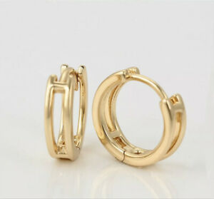 """9ct 9k Yellow """"Gold Filled""""small Huggies Hoop Sleeper Earrings 14mm,Girls Ladies"""