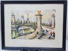 Marius Girard Le Pont Alexandre III et la tour Eiffel Signed Watercolor Print