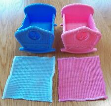 Fisher Price Loving Family Twins Bassinets & Blankets~Boy/Girl Pink Blue Nursery