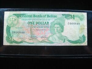 BELIZE $1 DOLLAR 1983 P38 BRITISH QUEEN SHARP 6840# CURRENCY BANKNOTE MONEY