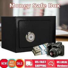 Strong Iron Steel Key Operated Security Money Cash Safe Box For Home Office USA