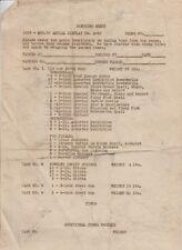 1939 Vintage Fireworks Pyrotechnics Display Checking Sheet