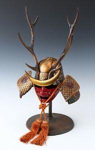 Old Vintage Samurai Helmet -Shikanosuke kabuto with a mask- Very Rare Tsushima