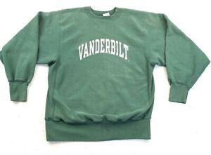 Vintage 90s Champion Reverse Weave Green Vanderbilt Commodores Excellent Green