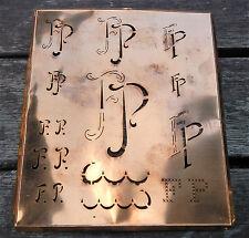 """Monogramm """" FP """" Wäschemonogramm Wäscheschablone Wäschezeichen 11/13 cm KUPFER"""