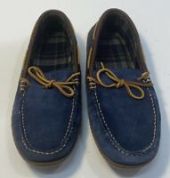 L.L.Bean Mens Handsewn Slippers, Flannel Lined Size 9 M Color Navy Blue