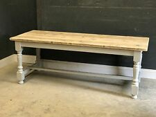 7FT DINING KITCHEN TABLE - RECLAIMED TURNED LEG REFECTORY VINTAGE TABLE
