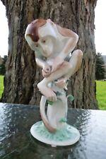AUGARTEN WIEN Austria RARE Hand-Painted BABOON MONKEY on Tree Stump FIGURINE
