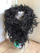 Boho hippy goth BLACK GREY crochet  tassel LETTUCE OF LONDON scarf wrap pashmina