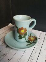 Arnart China Demitasse Mini Cup Saucer Blue W/ Orange Flowers Hand Painted Korea
