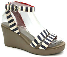 Crocs Womens Sandal Size 6 Leigh II Strappy Wedge Blue White