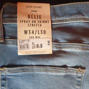 BNWT River Island 34 Waist 30 Leg light blue Spray On Skinny Stretch Ollie Jeans