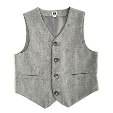 Janie And Jack Wool Blend Vest Boys 6 Formal Button Front Gray Lined