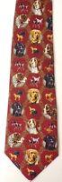 EAGLE NECKWEAR Mens Red Dog Print Silk Tie Necktie