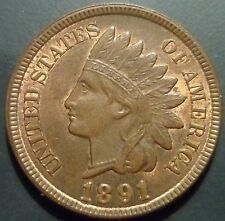 MS 63 ANACS PQ 1891 Indian Head Cent S4 Snow 4 RPD Repunched Date mint error