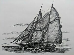 James E. Stilphen Pen & Ink Drawing Painting Sailboat Ship 1966 Bath Maine