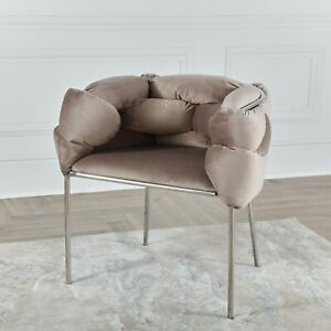 Unique Luxury Modern Woven Cream Velvet Tub Dinning and Accent Chair Chrome Legs