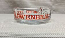 Vintage Lowenbrau Zurich Swiss Beer Glass Ashtray Lion Clear Red Black