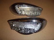 TRIUMPH CROMATO SERBATOIO BADGE T100 T120 Bonneville 1966-68 fatta in UK 82-6887 82-6888