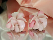 Germany Pink Lucite Clip Earrings 2S Super Cute Vintage 1950's Signed W